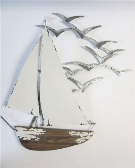 Yacht with Seagulls Large Metal Nautical Coastal Wall Art